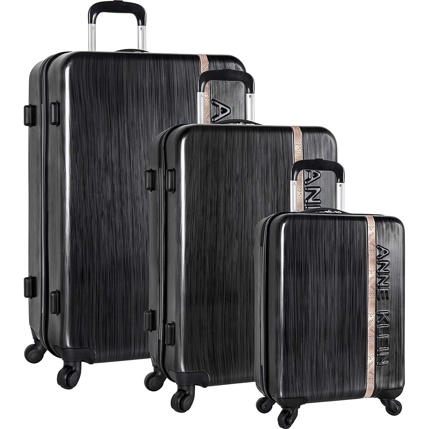 Image of Anne Klein 3 Piece Hardside Spinner Luggage Suitcase Set Luggage