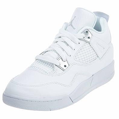 detailing 33086 1cbe3 Jordan Retro 4 Pure Money White/Metallic Silver (Little Kid ...