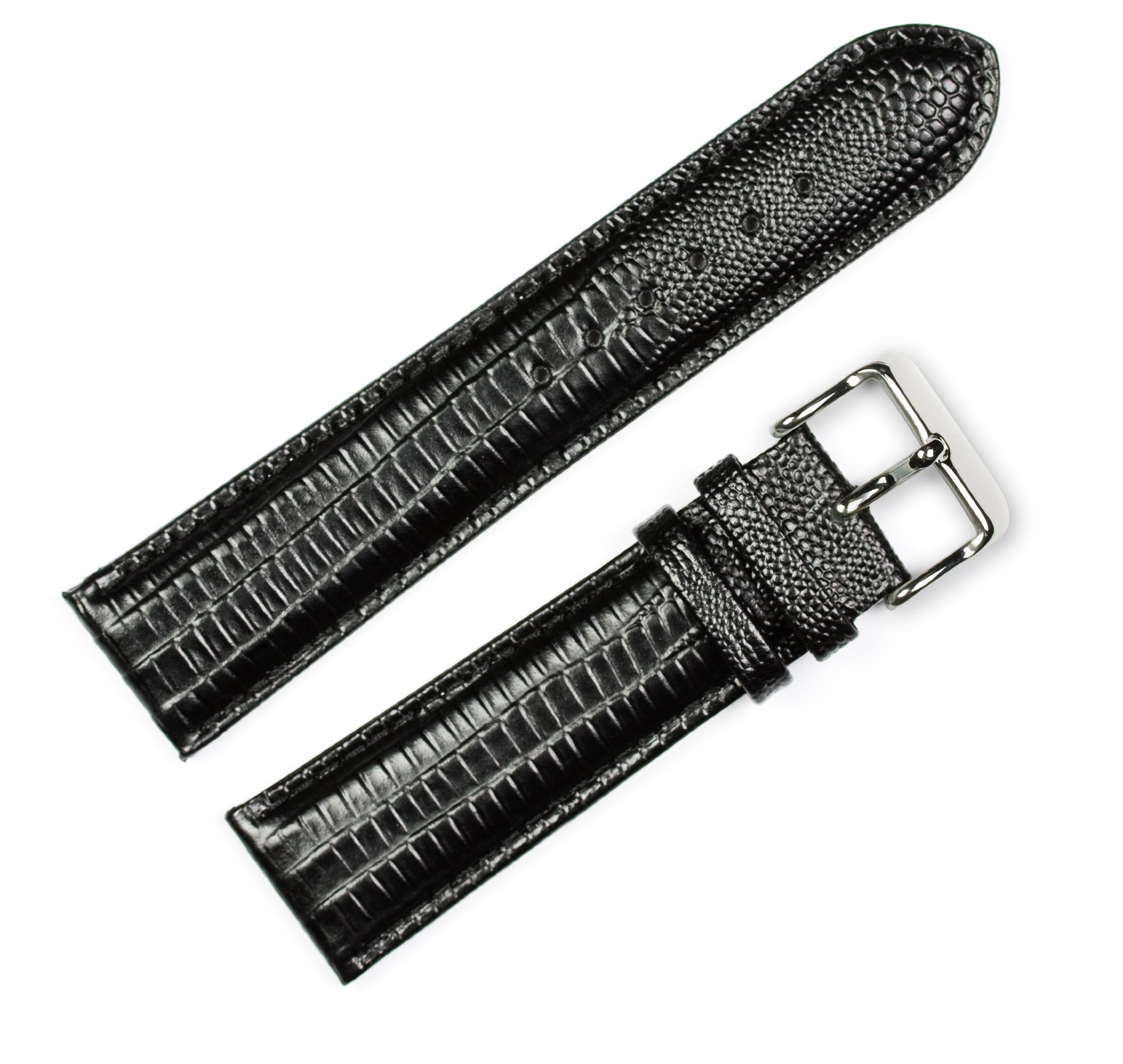 Teju Lizard Grain Watchband Black 19mm Watch band - by deBeer