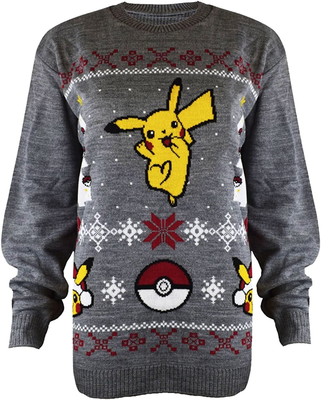 Mens Womens Kids Unisex Xmas Christmas Pokemon Pikachu Knitted Christmas Jumper
