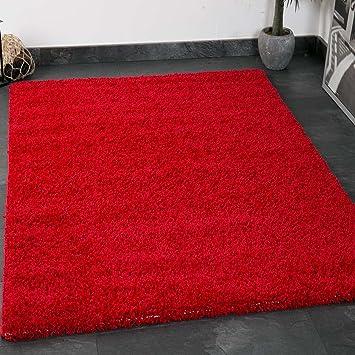 VIMODA Prime Shaggy Farbe Rot Teppich Hochflor Langflor Teppiche Modern Für  Wohnzimmer Schlafzimmer, Maße: