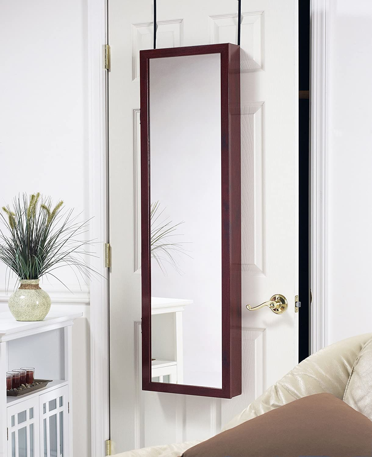 Amazon plaza astoria over the doorwall mount jewelry armoire amazon plaza astoria over the doorwall mount jewelry armoire with full length mirror lined storage interior vanity mirror cherry home kitchen eventelaan Gallery
