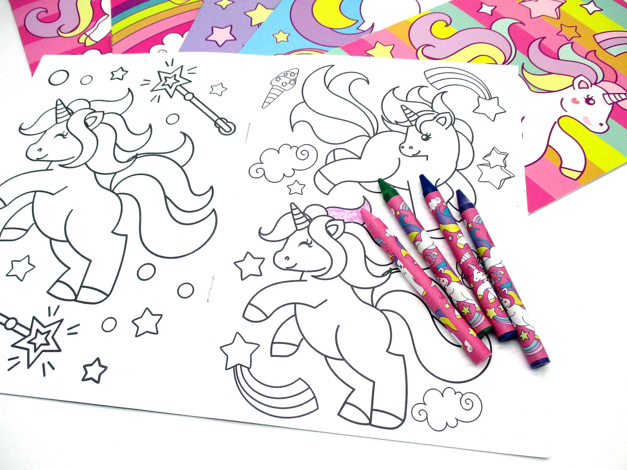 Unicorn Coloring Books with Crayons Party Favors, Set of 12 5
