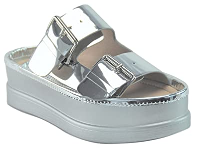 05ad5f556fb4 Adelle Latest Silver Faux Leather Chunky Wedge Platform Punk Cute Casual  Work Stylish Summer Comfy Sandalias
