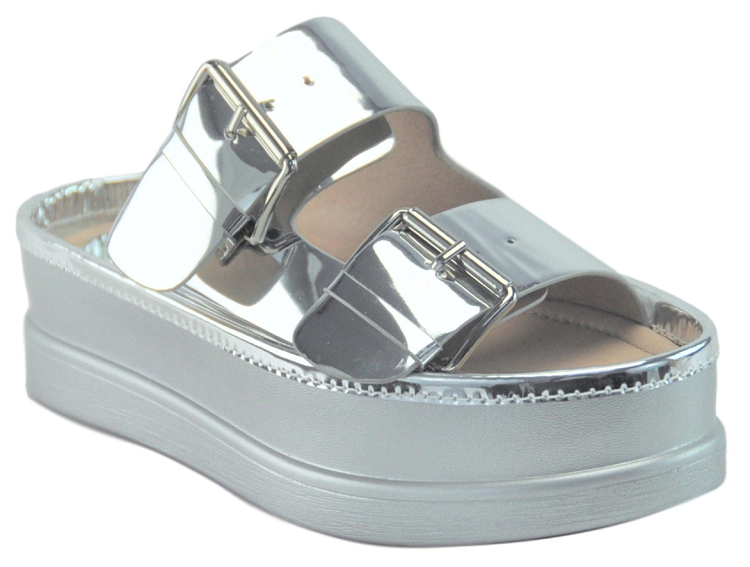 Adelle Popular Silver Slip On Round Toe Top Comfortable Boho Nice Cheap Junior Fashionable Sandalias Plataforma Tacon Cuna Sandal for Women Girl Teen (Size 6.5, Silver)