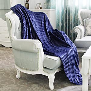 Homde Duvet Cover for Weighted Blanket | Breathable Cotton and Soft Minky Dot | 48 x 72 Inch, Navy Blue