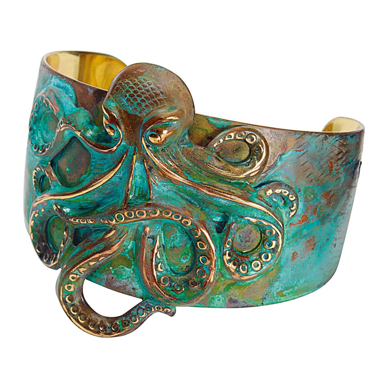 Women's Octopus Cuff Bracelet - Solid Brass Verdigris Antiqued Patina Finish