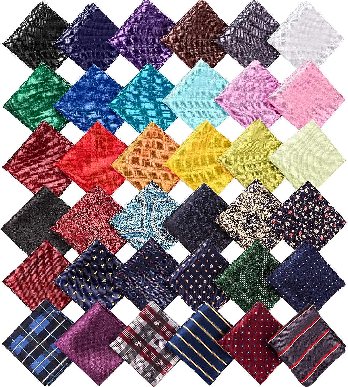 36 Pieces Pocket Square Handkerchief Soft Colored Hankies for Men Party Wedding