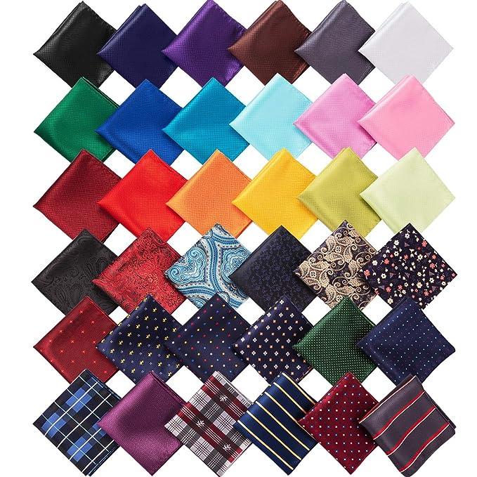Amazon.com: 36 pañuelos cuadrados de bolsillo para hombres ...