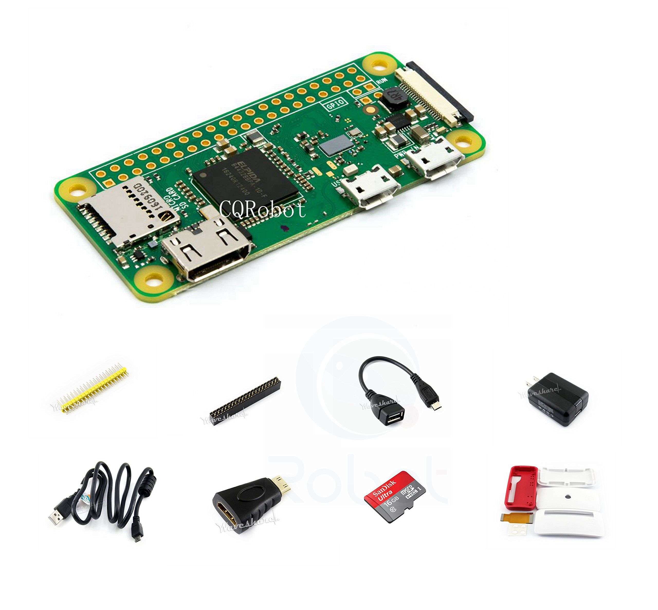 CQRobot Kit B with Official Case for Raspberry Pi Zero W (Added WiFi and Bluetooth Connectivity), Includes: Raspberry Pi Zero W, Micro SD Card, Power Adapter and Basic Components.