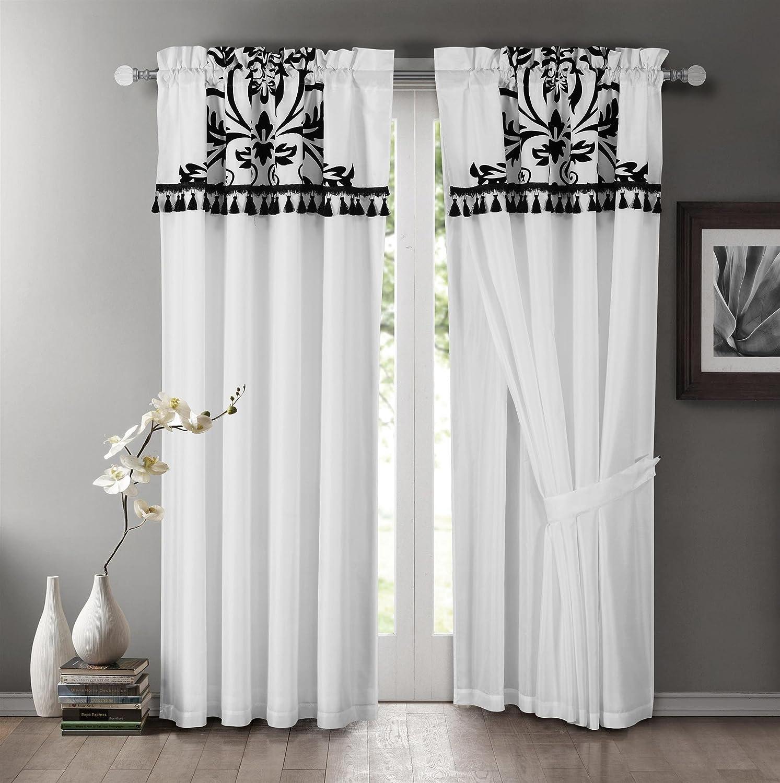 Chezmoi Collection 2-Panel Floral Window Curtain/Drape Set with Valance-Treatment Draperies, White Nobility-White-W.C
