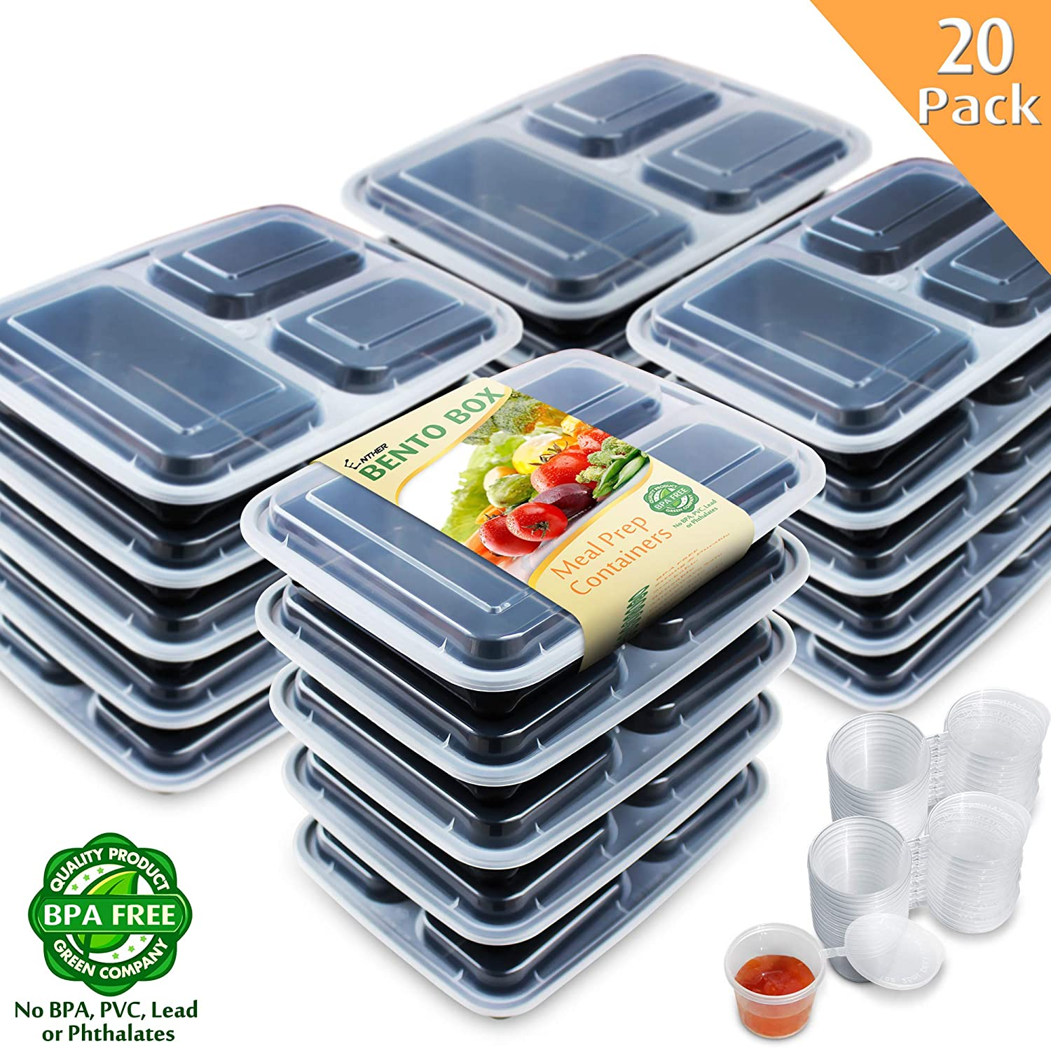 Enther Meal Prep Containers [20 Pack] 36oz 3 Compartment with Lids, Food Storage Bento Box with Souffle Cups BPA Free/Reusable/Stackable, Microwave/Freezer/Dishwasher Safe, Portion Control Black