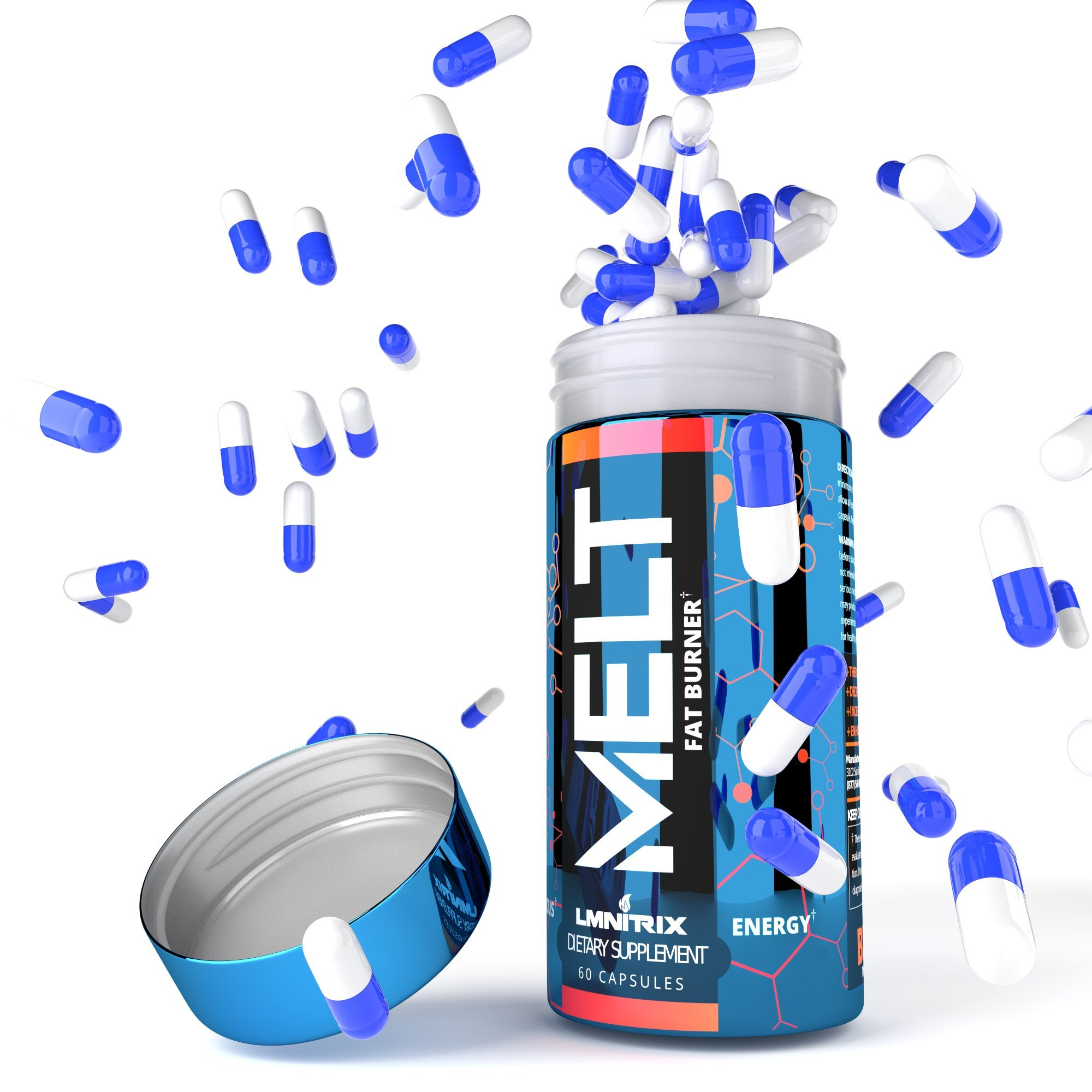 MELT - Best Thermogenic Fat Burner for Men & Women - Appetite Suppressant Pills for Fast Weight Loss - Real Results Guaranteed - 60 caps by LMNITRIX