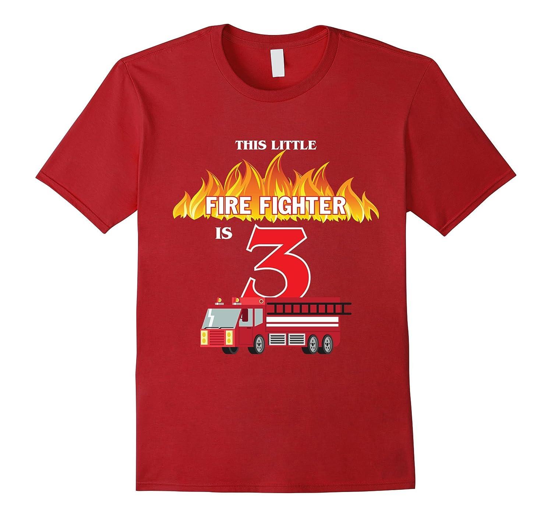 3rd Birthday Boys Firefighter Fireman T-Shirt For Kids-TH