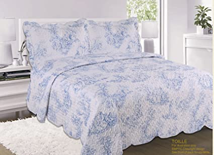 Superb Quilted Vintage Shabby Chic Toille Bedspread Comforter Throw Double Bed Blue Interior Design Ideas Inesswwsoteloinfo