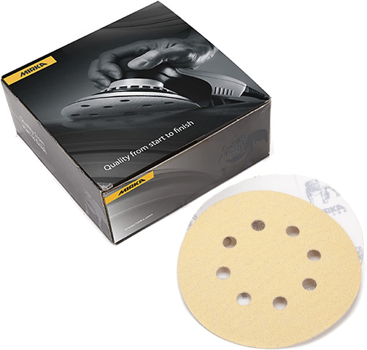 Mirka 23-615-AP Gold 5-Inch 8-Hole Dustless Hook-and-Loop Sanding Disks, 10 Each of 5 Grits 81g3Wf0Jx-L