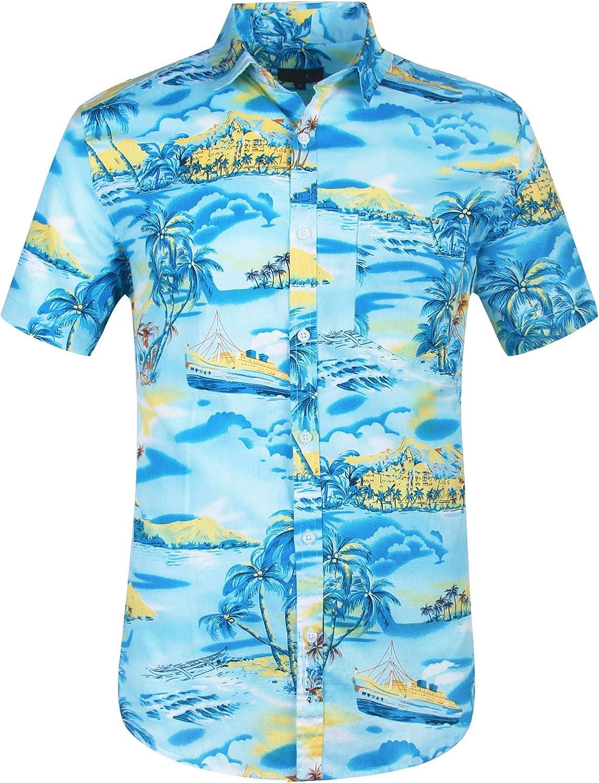 FLY-blue Men Short Sleeve Front Floral Print Beach Hawaiian Shirt