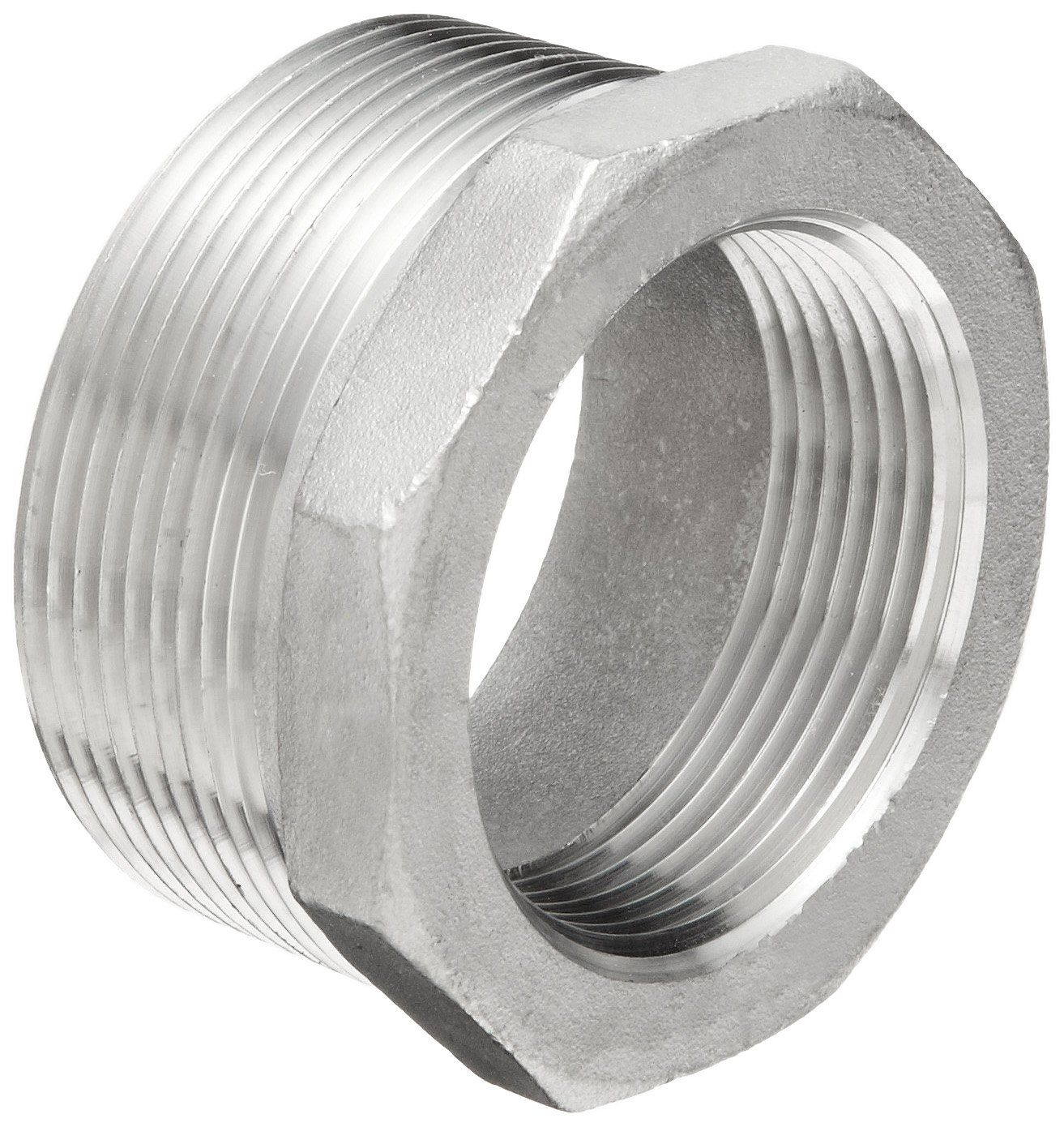 Dixon HB2015SS Stainless Steel 316 Pipe and Welding Fitting, Reducer Hex Bushing, 2'' NPT Male x 1-1/2'' NPT Female