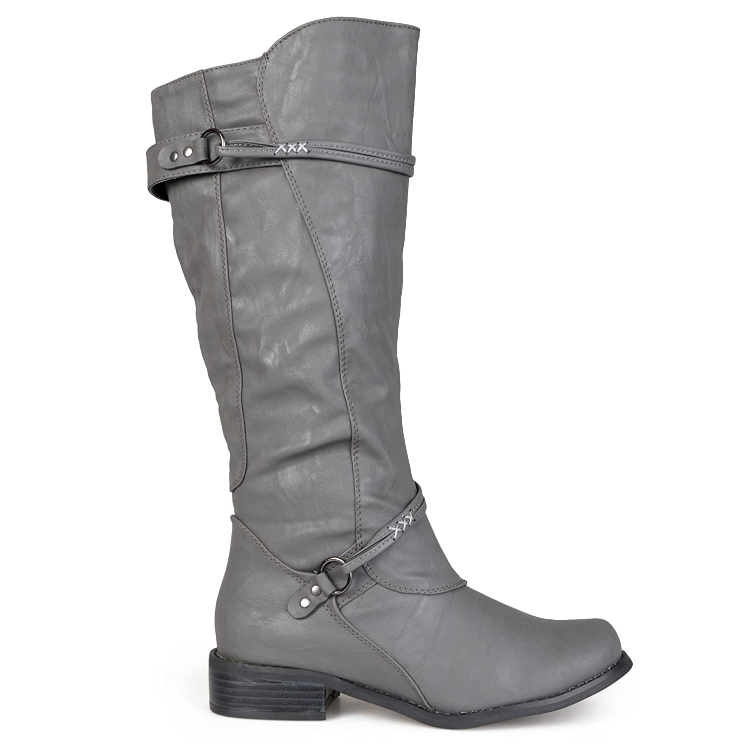 Brinley Co Regular and Wide-Calf Womens Buckle Accent Tall Boot