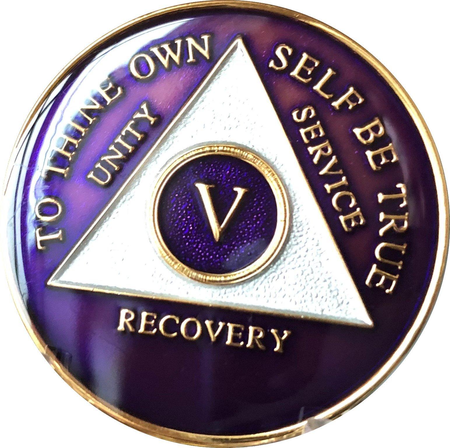 5 Year AA Medallion Metallic Purple Tri-Plate Gold Plated Chip
