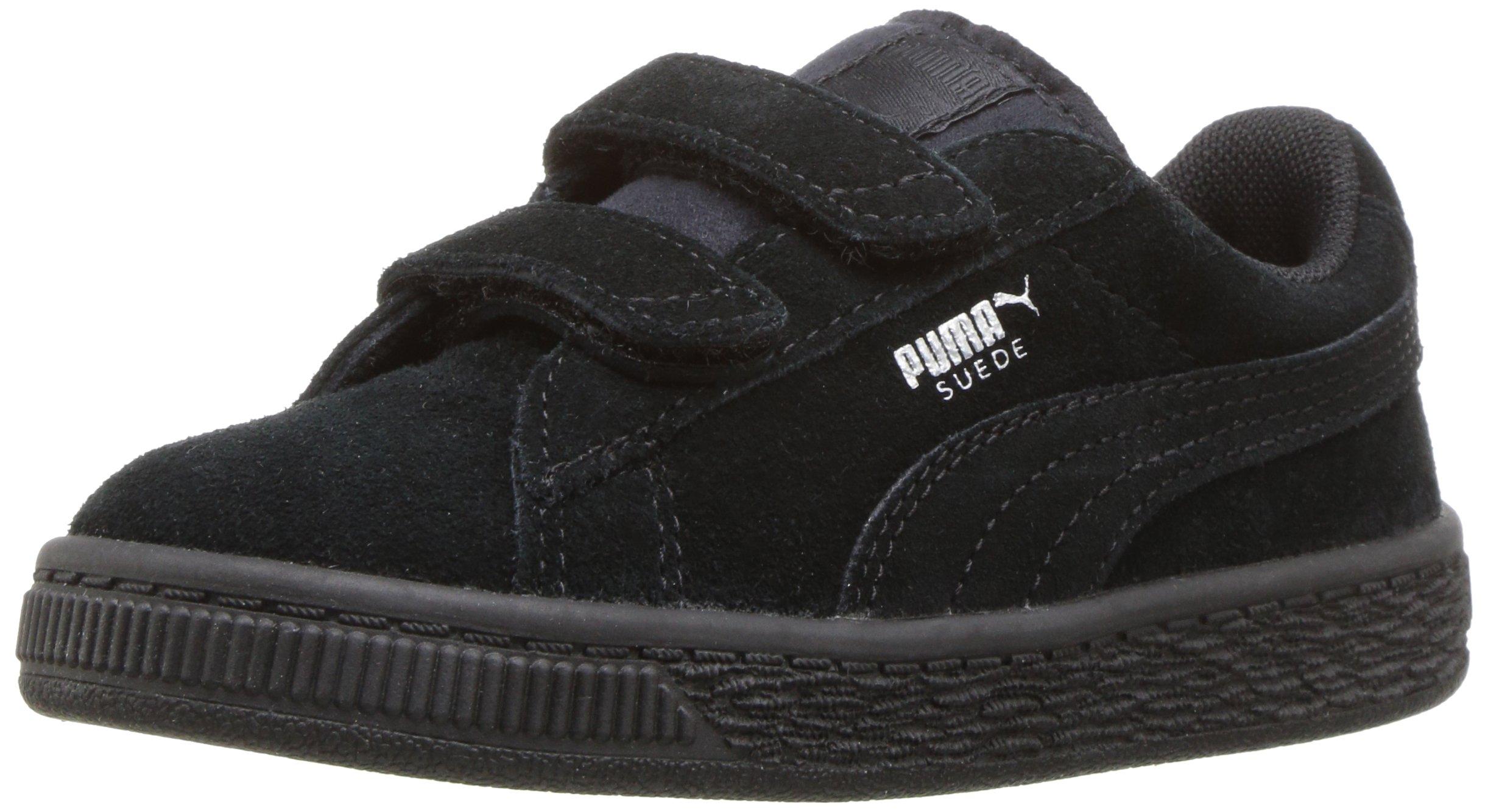 PUMA Baby Suede 2 Straps Kids Sneaker, Black Silver, 10 M US Toddler
