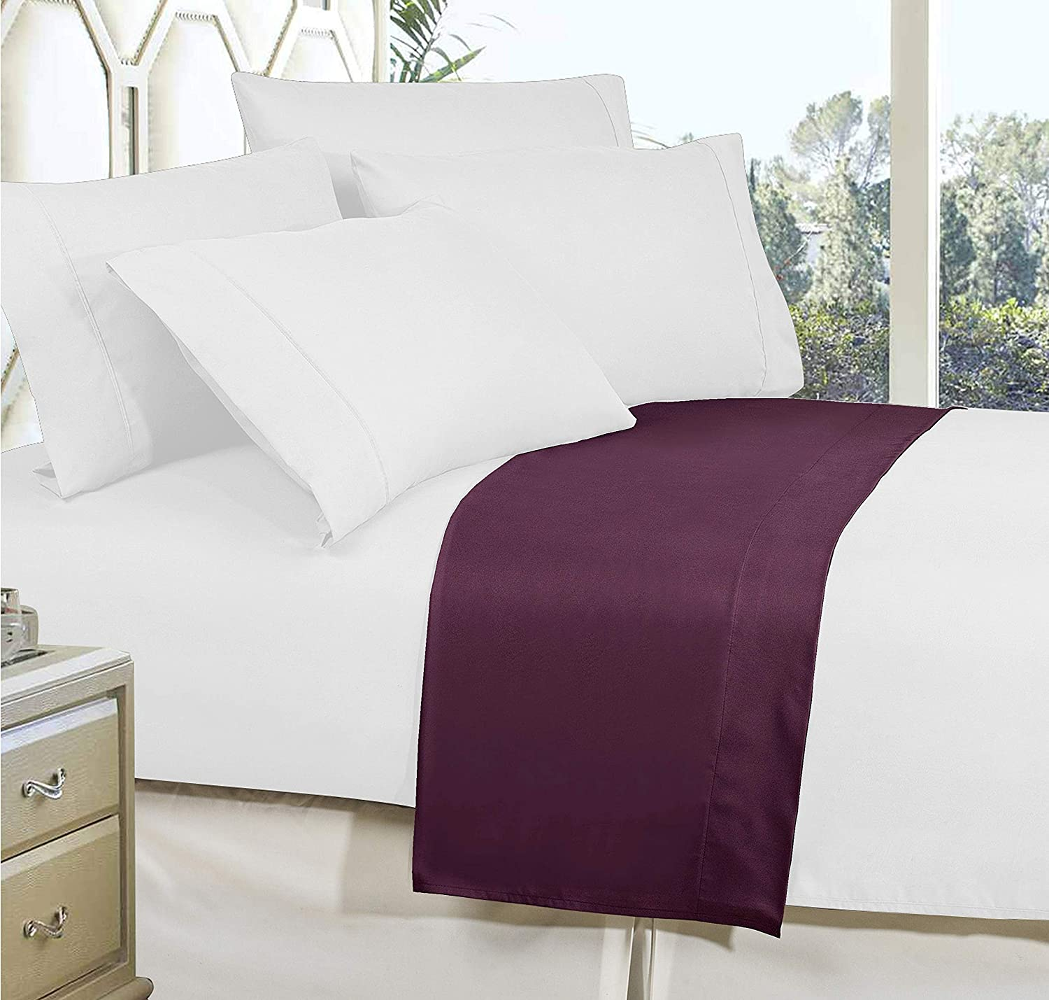 Elegant Comfort Premium Hotel 1-Piece Stain-Resistant 100/% Hypoallergenic Wrinkle-Free Full Eggplant-Purple Luxury and Softest 1500 Thread Count Egyptian Quality Bedding Flat Sheet