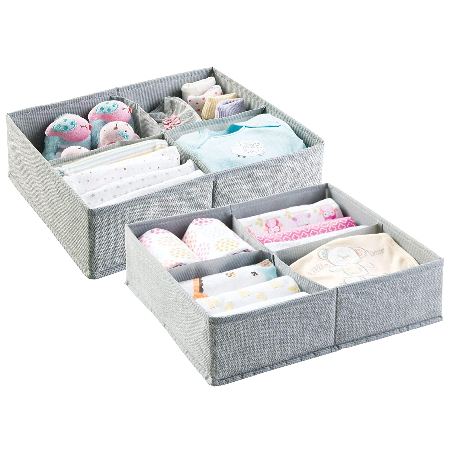 mDesign Set of 2 Baby Room Organizers - Large Storage Box With Four Compartments for Diapers, Wet Wipes Etc. - Ideal for Toy Storage - Gray MetroDecor