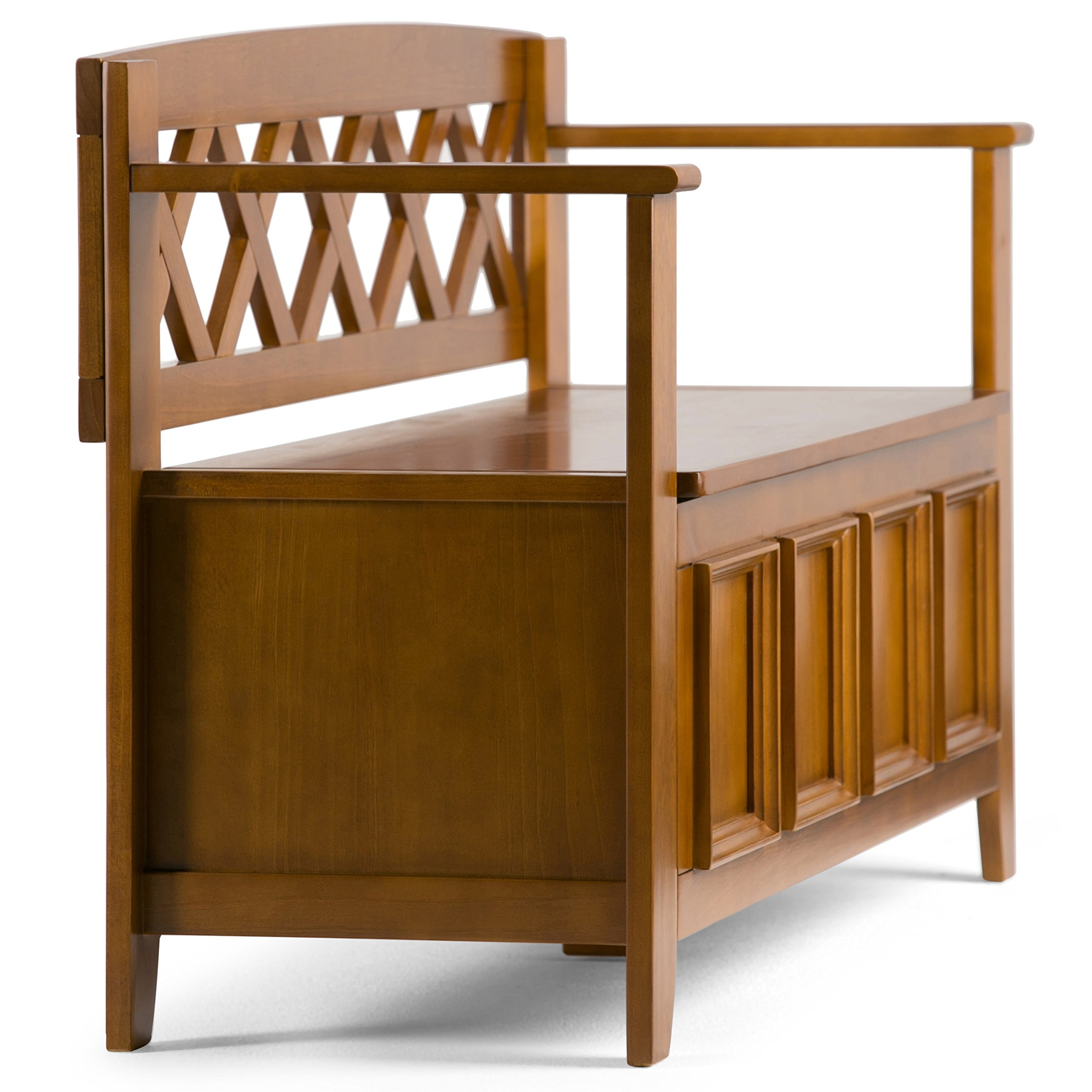 Simpli Home Amherst Solid Wood Entryway Storage Bench, Light Avalon Solid Wood Brown by Simpli Home (Image #5)