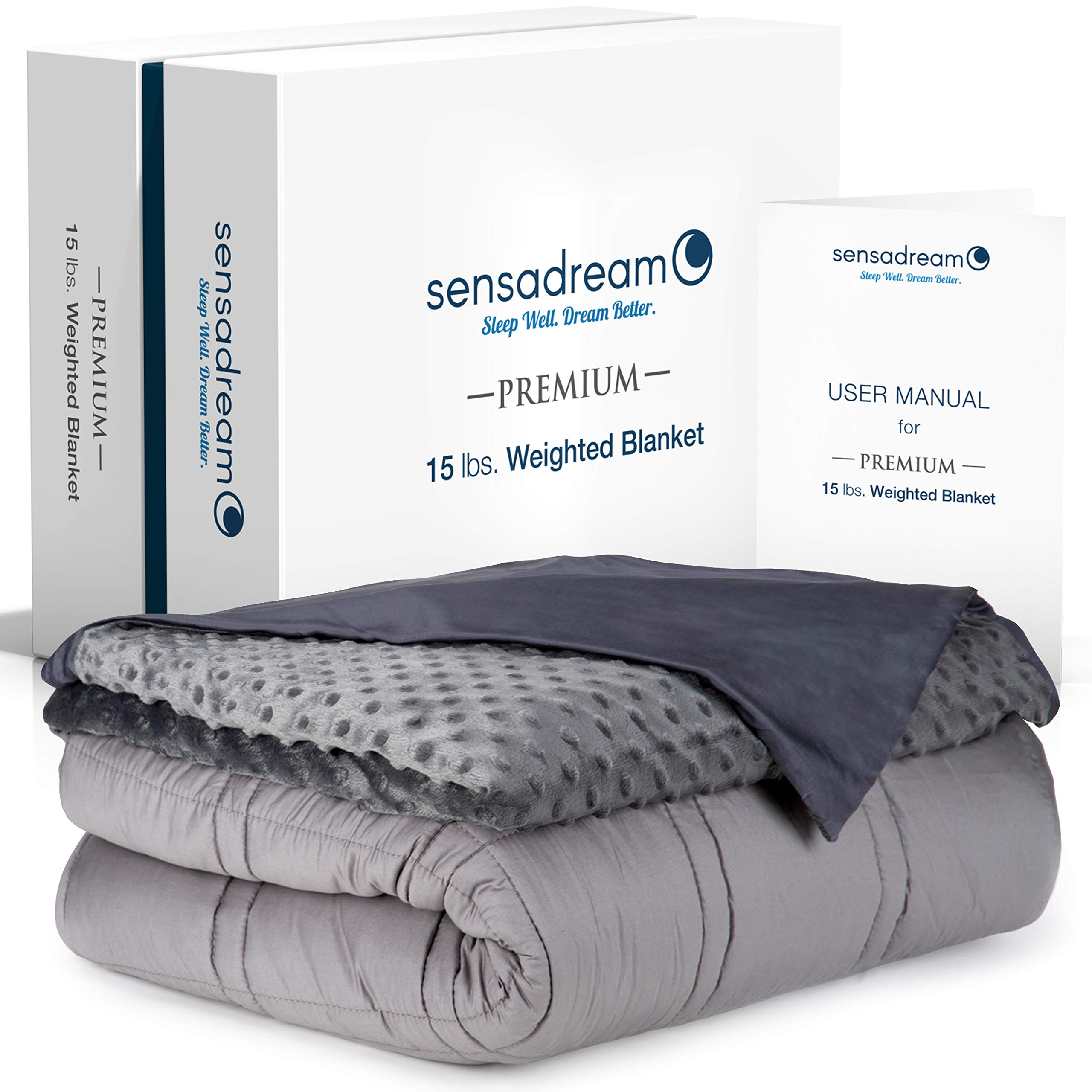 Sensadream Cooling Weighted Blanket for Adult and Kids - 20 lbs, 60x80, Queen Size - Cool Bamboo and Minky Dual-Sided Cover Included - Best Heavy Comforter for Improved Sleep