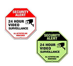 Video Surveillance Sign Outdoor | No Trespassing Glow-in-The-Dark Large Warning Sign | 12