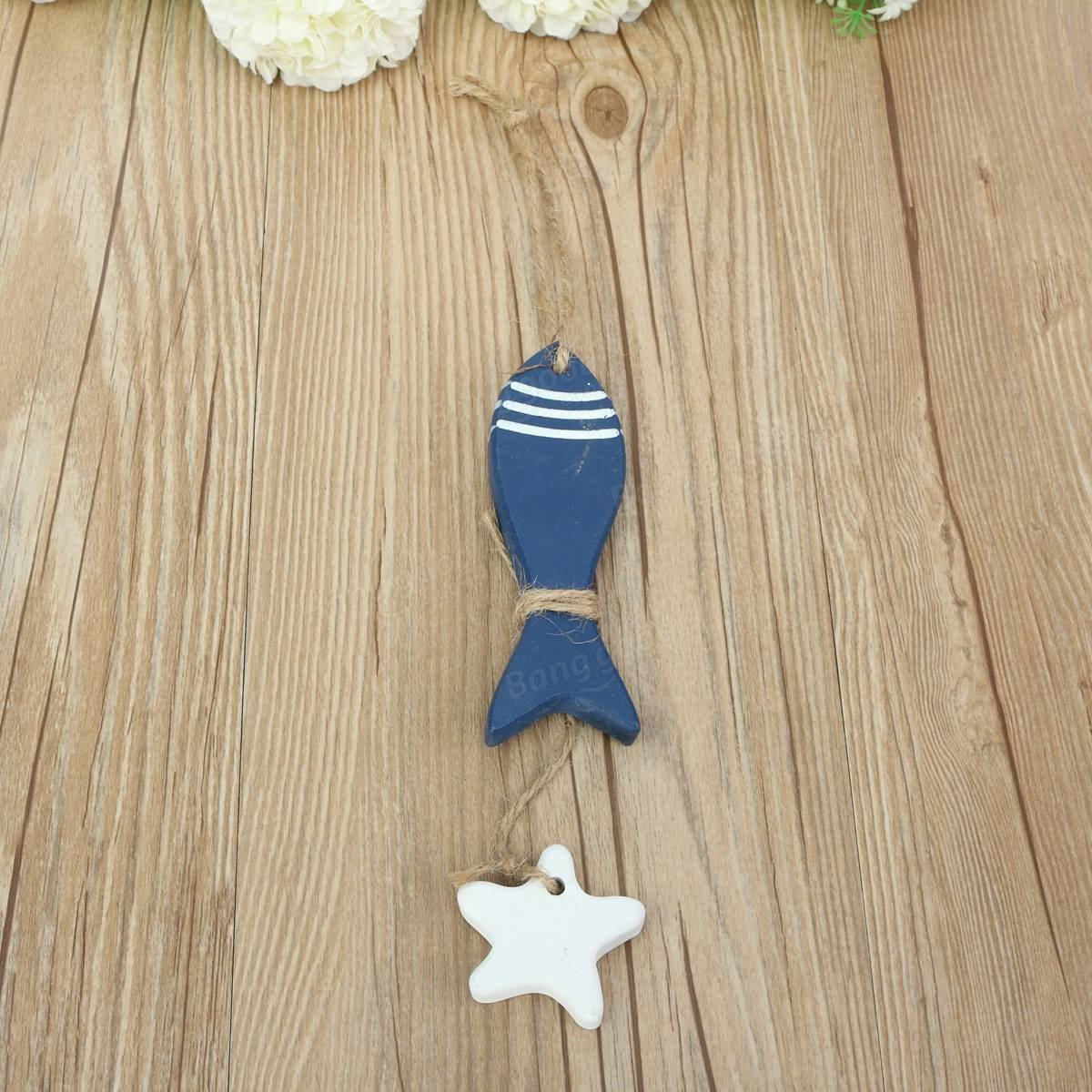 Bazaar Mediterranean Style Wooden Fish Star Dolphin Hanging Nautical Decor Boat Ship Beach Wall Ornament Big Bazaar EXPSFN014806