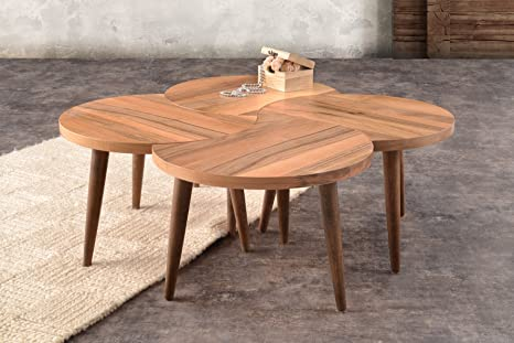 Mare Collection Electra Walnut Coffee Table - Nesting Table | Sets | Service Stand | Living Room | Mesita Baja