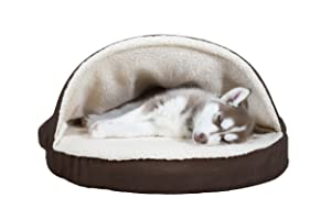 FurHaven Pet Dog Bed Orthopedic Faux Sheepskin Snuggery Burrow Pet Bed