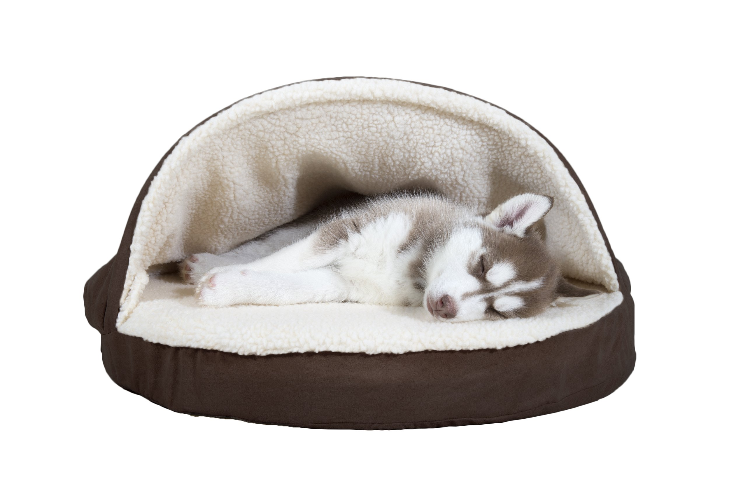 FurHaven Round Faux Sheepskin Orthopedic Snuggery Burrow Pet Bed, Espresso, 26-Inch
