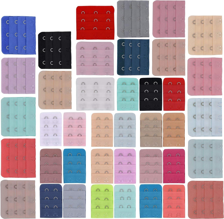 20 Farben ZEVONDA Damen BH Verschluss Verl/ängerung B/üstenhalter Erweiterungen Strap 3 Reihen x 2 Haken Dessous BH Accessoires 20 St/ück
