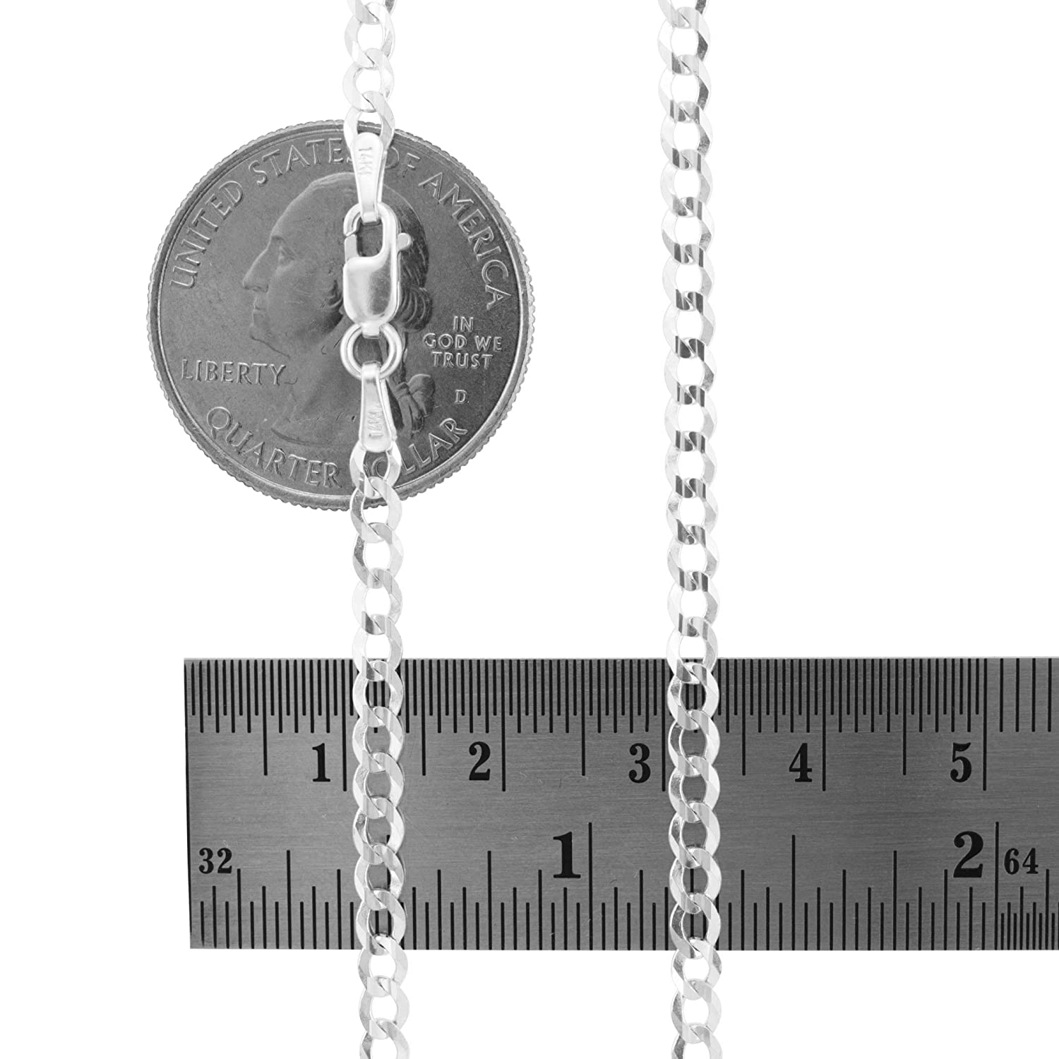 Unisex 14k White Gold Solid 3mm Cuban Chain Pendant Necklace 16-30