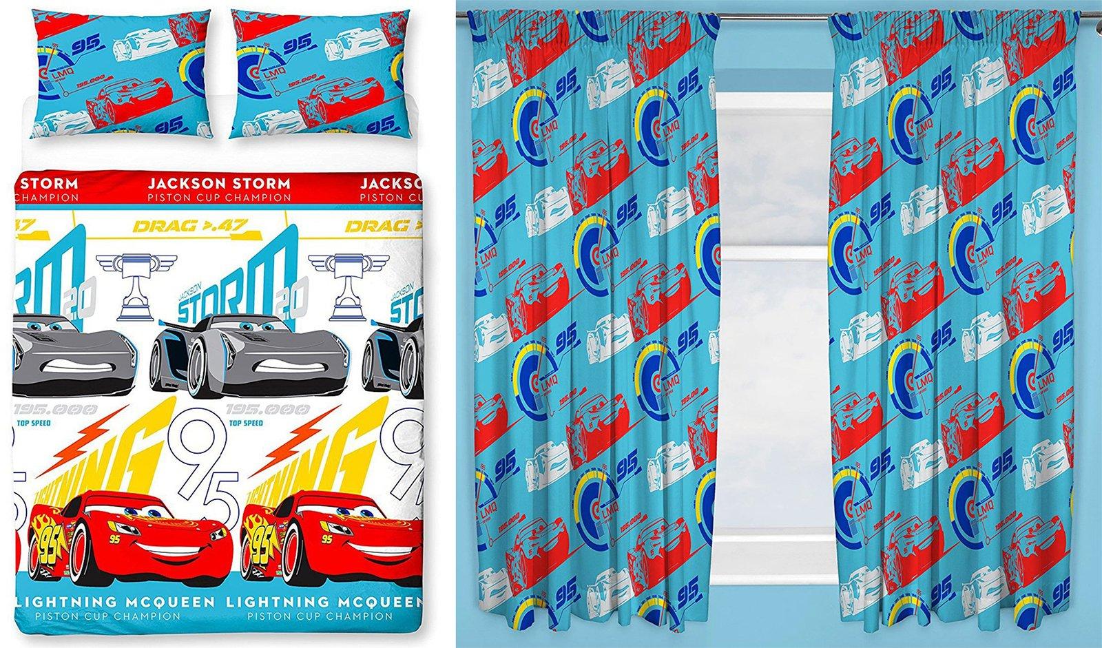 Cars 3 Lightning Double Duvet Set and Matching 66'' x 72'' Drop Curtains