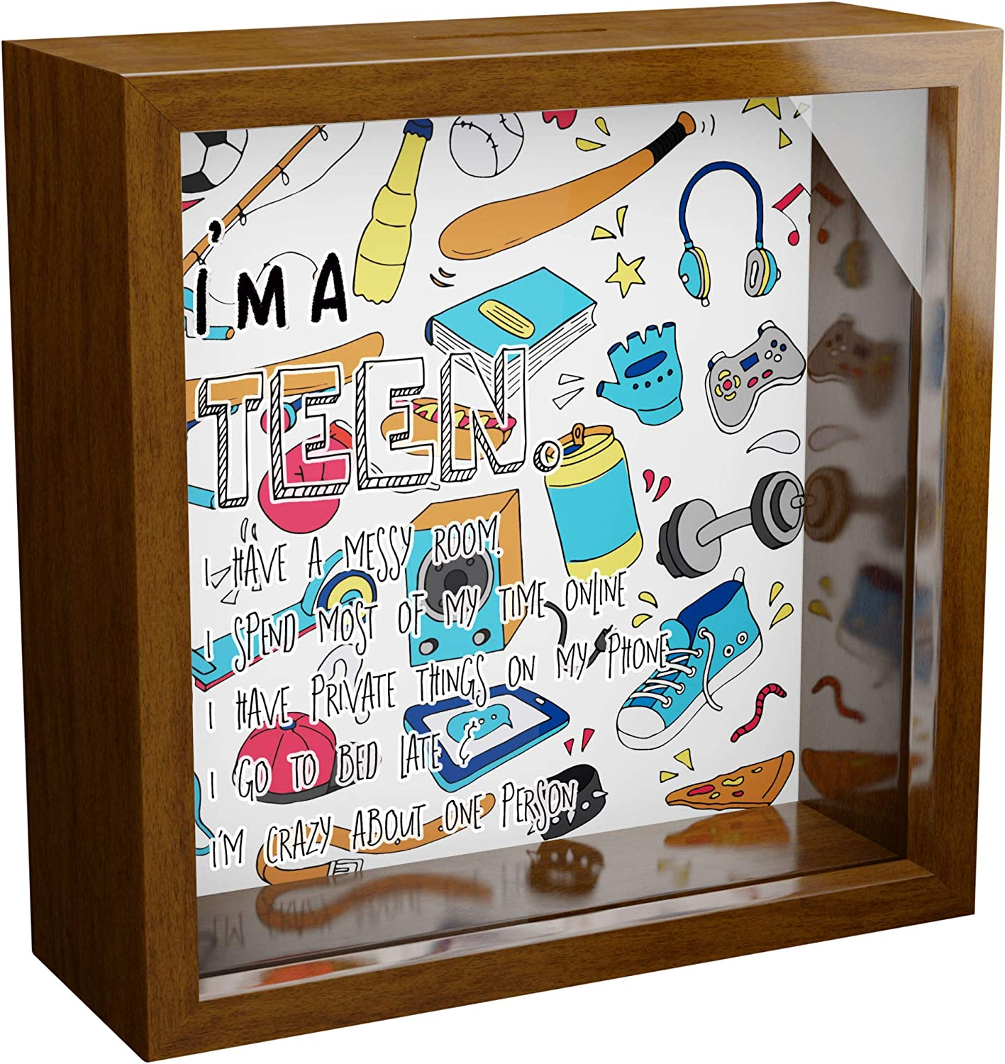 Gift for Teen Girl & Boy | A 6x6x2'' Wooden Themed Shadow Box for Teens | Cool Keepsake Picture Frame Decor for Teenager | Funny Best Friend BFF Birthday Novelty Present | Artsy Teen Room Decoration