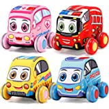 Pull-Back Plush Car Set - Soft Baby Toddler Toy Play Set of 4 City Vehicles (Police, Fire Truck, Ambulance, Taxi)