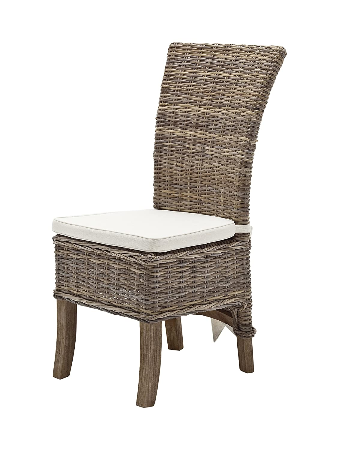 Amazon com novasolo wickerworks salsa natural grey rattan indoor dining chair with cusion set of 2 chairs