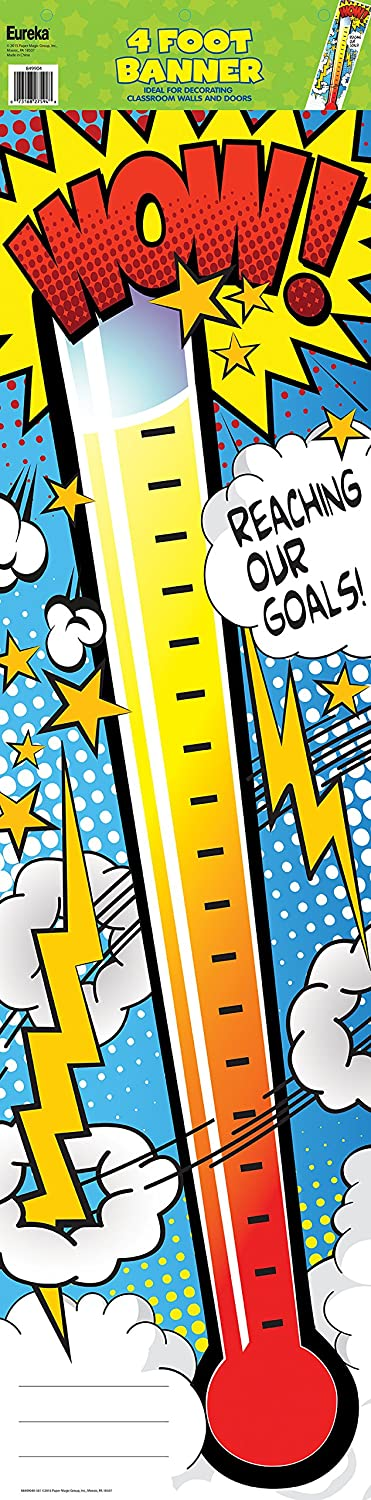 Eureka Wow Thermometer Vertical Classroom Banner Goal Setting Measures 45 X 12