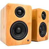 "Kanto YU2 Powered Desktop Speakers – 3"" Composite Driver 3/4"" Silk Dome Tweeter – Bamboo"