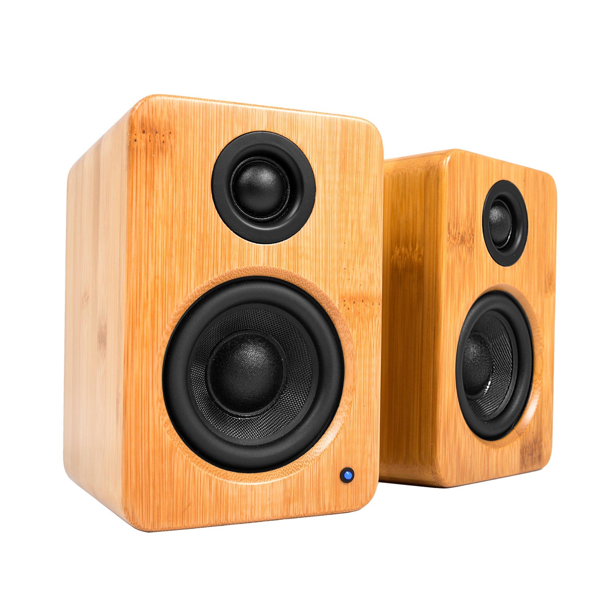 Kanto YU2 Powered Desktop Speakers – 3'' Composite Driver 3/4'' Silk Dome Tweeter – Bamboo