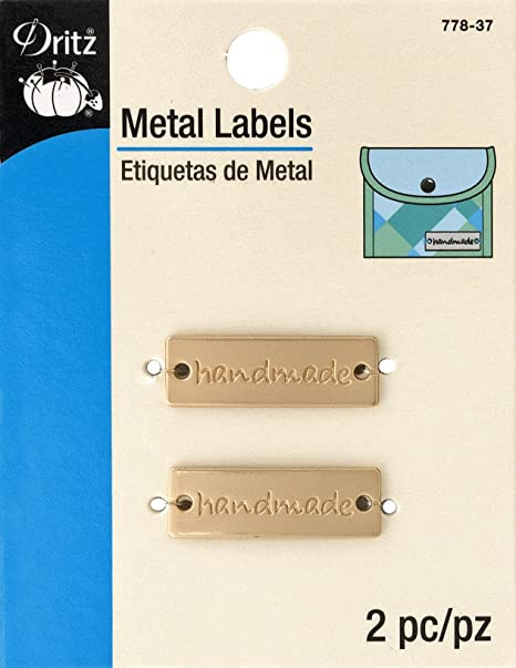 Dritz - Etiquetas metálicas Hechas a Mano (2 Quilates), Color Dorado Mate
