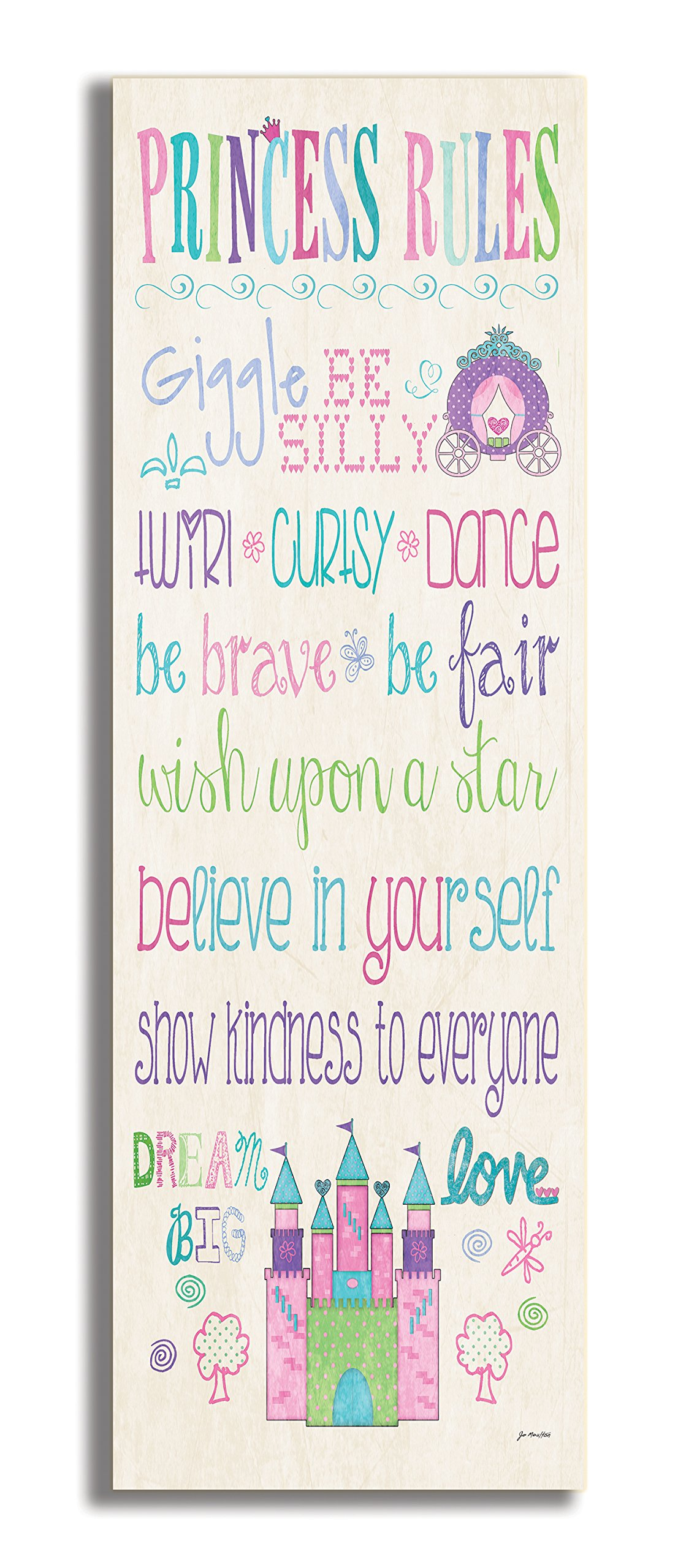 The Kids Room by Stupell Princess Rules With Castle And Carriage Rectangle Wall Plaque, 7 x 0.5 x 17, Proudly Made in USA