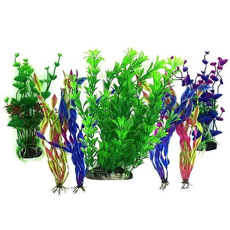 TOOGOO Plantas acuaticas Artificiales, 7 Piezas Plantas Grandes de Acuario Decoraciones plasticas del Tanque de