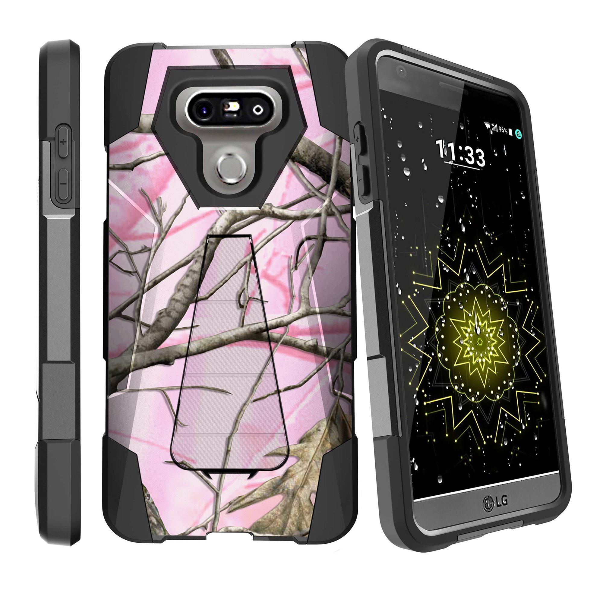 MINITURTLE Case Compatible w/ LG G6 Case| LG G6 Football Case [SHOCK FUSION] High Impact Hybrid Dual Layer Case w/ Stand Pink Hunters Camouflage