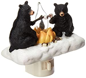 Roman Lights Exclusive Plug in Night Light, Features 2 Bears Roasting Marsh Mellows Around a Flickering Flame Camp Fire, 4.5-Inch
