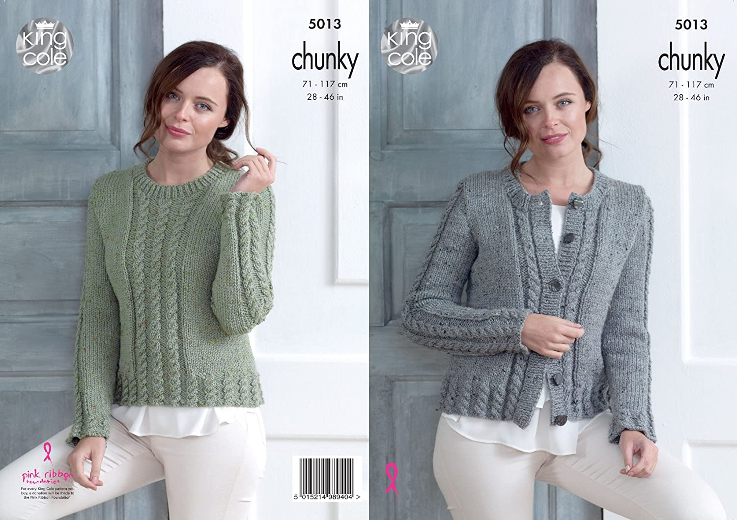 3d4e8a640523a7 King Cole Ladies Chunky Knitting Pattern Womens Cabled Cardigan   Sweater  (5013)  Amazon.co.uk  Kitchen   Home