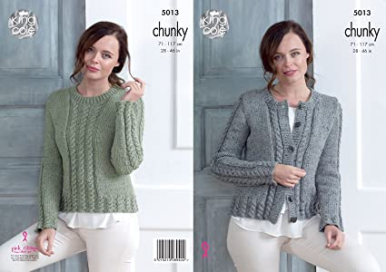 e7cb633b0 King Cole Ladies Chunky Knitting Pattern Womens Cabled Cardigan ...
